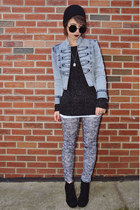 heather gray floral Oviesse leggings - light blue acid wash JC Penny jacket