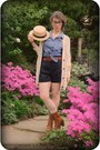 Tawny-urban-outfitters-boots-black-h-m-shorts-light-blue-denim-thrifted-blou