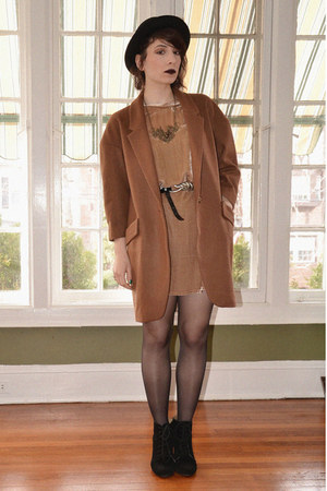 camel velvet Zara dress - brown oversized Anthropologie coat - black H&amp;M bag