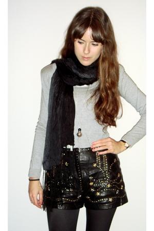 Zara sweater - vintage shorts - H&M tights - Zara scarf