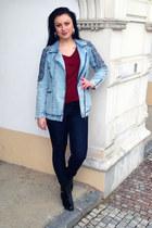 blue pull&bear jacket - black OASAP boots - maroon lindex t-shirt