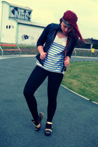 white Zara t-shirt - black adidas shoes - black H&M jacket - black Zara leggings