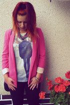 black Zara leggings - bubble gum Zara blazer - periwinkle Zara t-shirt
