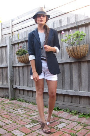 brown fedora hat - Theory blazer - Saba shorts - Armani Exchange belt