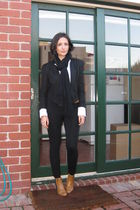 black asos blazer - black Witchery pants - white Cue shirt - PAM boots - Saba be