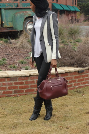 black and white rag & bone blazer - black boots sam edelman boots