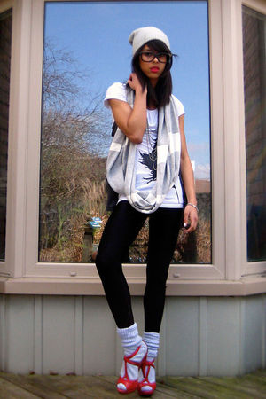 silver socks - red shoes - silver hat - black leggings - white shirt