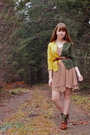 Green-neneee-cardigan-beige-modcloth-dress-green-thank-you-mart-socks-brow