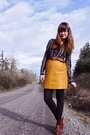 Black-urban-outfitters-dress-yellow-secondhand-skirt-brown-vintage-belt-bl