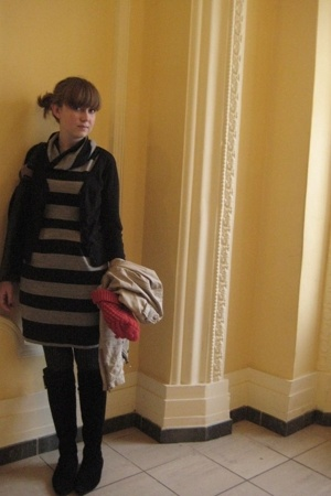 H&M sweater - Zara dress - some shop in Greece shoes - Ruche purse - Urban Outfi
