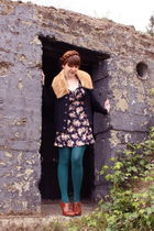 brown shoes - blue vintage dress - green We Love Colors tights