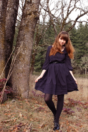 blue H&M dress - black gift tights - black belt - black Bloch shoes