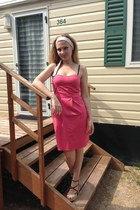 hot pink PepeJeans dress - camel amy gee sandals