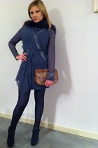 vintage dress - Hollywood Milano boots - fur Miral scarf - cocco vintage bag