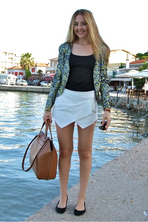 white skort Choies shorts - olive green sequin Mango blazer