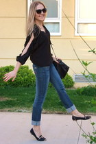 black Ninewest bag - navy Mango jeans - black captoe yeswalker loafers