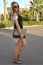 black tulle Twist vest - brown vintage zeroUV sunglasses