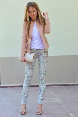 light pink peplum chicnova blazer - eggshell Accessorize bag