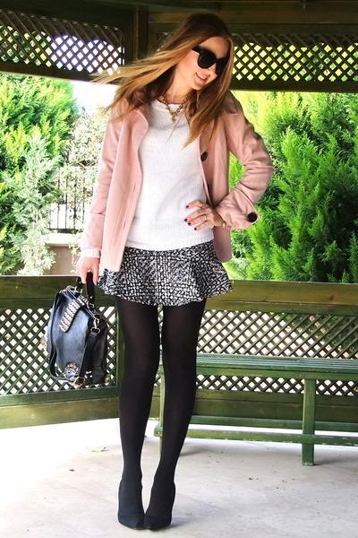 silver tweed Choies skirt - bubble gum Zara coat - black vjstyle bag