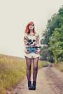 Romwe-shorts-asos-tights-nelly-heels-romwe-t-shirt