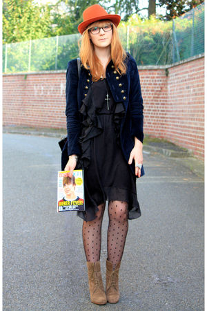 Zara coat - Zara boots - H&M dress - H&M tights - Zara hat