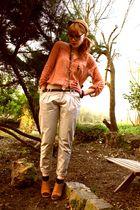 Zara shirt - Beige pants - H&M accessories