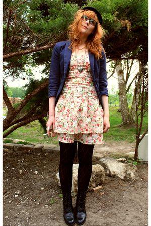 flowers dress - Naf Naf jacket - vintage hat - vintage shoes