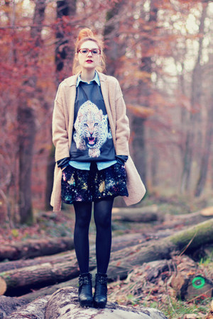 tiger Mrgugu&MsGo sweatshirt - Nelly shoes - oversized Choies coat - romwe skirt