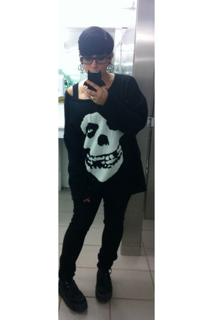 black kohls jeans - black misfits sweater iron fist sweater