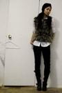 by Precy hat - Zara shirt - Luna vest - Blank Denim jeans