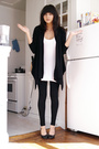 white long f21 top - black wedges Chinese Laundry shoes