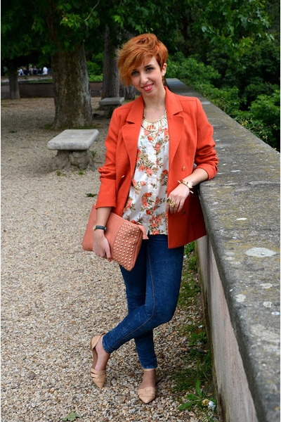 H&M blazer - Pull and Bear jeans - vintage shirt - Zara flats