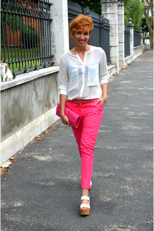 romwe shirt - River Island bag - Zara pants - Bata wedges