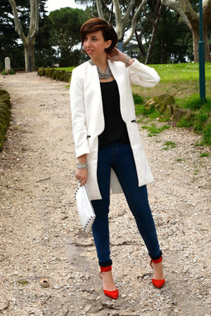 Sheinsidecom coat - Zara shoes - pull adn bear jeans - H&amp;M bag - Zara blouse