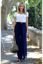 navy DIY skirt - heather gray paravidino bag - white H&M t-shirt