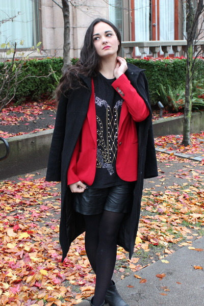red T Babaton blazer - black A Movable Feast coat - Zara sweater