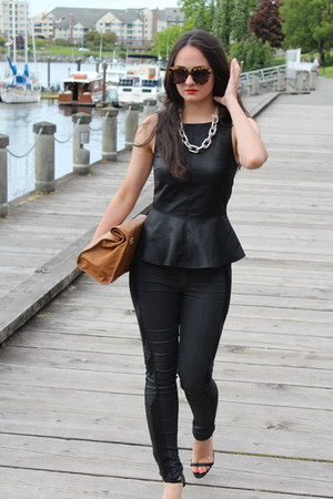 black rag & bone jeans - black Zara bag - Karen Walker sunglasses - Zara top