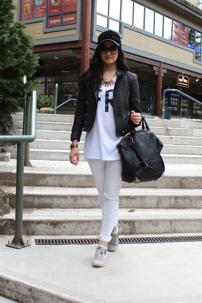 black leather vintage hat - heather gray j-brand jeans