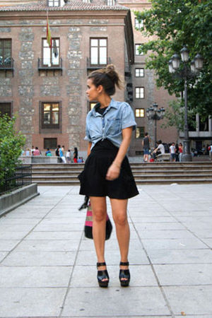 blue Zara shirt - black Topshop top - black Zara clogs - asos skirt - BLANCO bag
