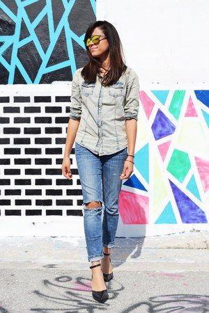 denim allsaints jeans - mirrored Sheep Rich sunglasses - black Payless heels