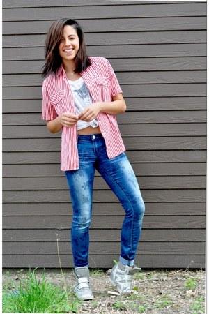 denim rue21 pants - sneaker wedge Nyla sneakers - rolling stone cotton on top