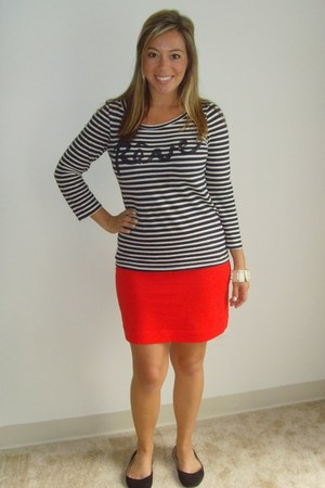 navy JCrew shirt - red H&amp;M skirt