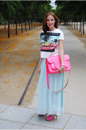 Bershka shirt - satchel bag bag - Lefties skirt - Nine West sandals