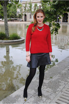 red Old classic sweater - H&M skirt - SuitBlanco heels