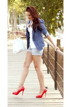 blue Pimkie blazer - hot pink BLANCO shoes - white BLANCO bag
