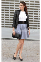 blue Mango skirt - black Melanie shoes - black Stradivarius jacket