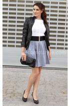 blue Mango skirt - black Melanie shoes - black Stradivarius jacket