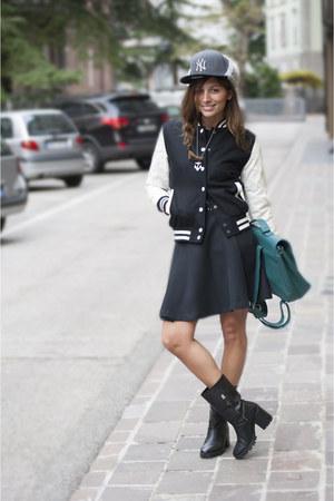 black Zara boots - gray new era hat - black Urban Classics jacket