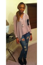light pink see through H&M blouse - black black suede Missguided boots