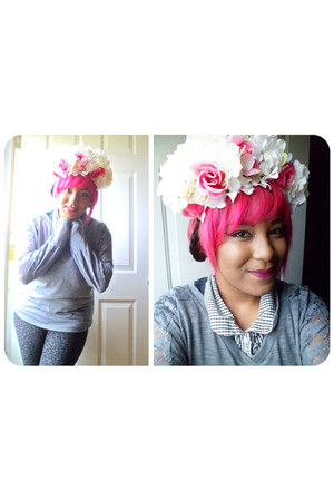 floral headband hair accessory - heather gray blouse